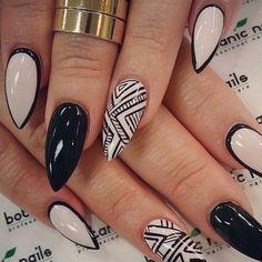 Light+Cream+and+Black+Tribal+false+nails+set+10g+by+Nidaboutique,+$15.00