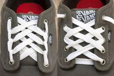 Don& settle for boring shoes. Try these cool designs for fun ways to lace up a pair of vans shoes. How To Lace Vans, Ways To Lace Shoes, How To Tie Shoes, Lace Up Shoes, Cute Shoes, Me Too Shoes, Sock Shoes, Vans Shoes, Ways To Tie Shoelaces