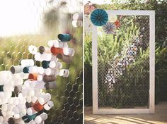 paper circles in chicken wire. such a cool display!