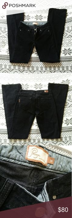 "Paige Premium Denim 'Benedict Canyon' Corduroy 26 Excellent condition. Blackest black, but you may want to carry around a lint roller for this one, lol. Inseam 33"". PAIGE Pants Boot Cut & Flare"
