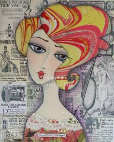 Domestically Challenged is a whimsical folk art print of a sweet and sexy woman or girl, created from an original mixed media painting by Joann