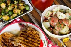 Wildtree's Rodeo Pork Chops with Roasted Brussels Sprouts . Rodeo Rub, Hickory Smoke Grapeseed Oil, and Wildtree Coleslaw Dressing.