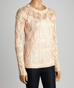 Another great find on #zulily! Pink Sparkle Loose-Knit Keyhole Sweater by Design 26 #zulilyfinds