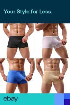 8df4797e8 Mens Ice Silk Long Elephant Nose Pouch Boxer Trunks Underwear Underpants  Panties
