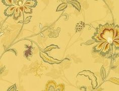 french+country+wallpaper | Wallpaper Designer French Country Yellow Jacobean Traditional Floral