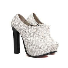 Stylish Elegant Chunky Heel Lace Nets Design Women's Pumps (SILVER,39), Women's Pumps - fashiondresswholesale.com