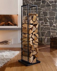 Creative Interior Design with Wood, 25 Firewood Storage Solutions : modern interior design and firewood storage ideas Firewood Stand, Indoor Firewood Rack, Log Store Indoor, Indoor Log Storage, Wood Storage Rack, Smart Storage, Fireplace Logs, Wood Holder For Fireplace, Wood Store