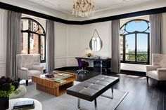 The living room of the St. Regis Bentley Suite, with views of Central Park.