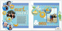 Doodlebug Design Inc Blog: Anchors Aweigh Collection: Surf, Sand & Sea Double-page Layout by Mendi