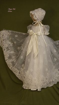Angela West Christening gown set Delilah with por angelawesthgowns Baby Christening Outfit, Baptism Gown, Little Girl Dresses, Flower Girl Dresses, Baby Dress Patterns, Ceremony Dresses, Baby Girl Fashion, Sewing, Clothes