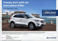 CFAO Motors - Hyundai Creta: Trendy SUV with an Unrivalled Offer, as from Rs 999,000*. Tel: 286 9255
