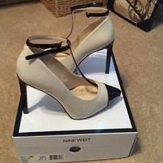 NWB NINE WEST T STRAP STILETTOS NWB size 8.5 t strap stilettos. Black and off white. Ankle strap. Platform front and 4.5 inch heel Nine West Shoes