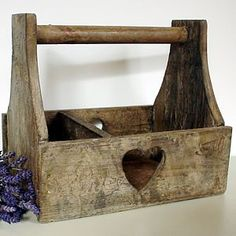 Rustic Wooden Heart Trug - garden storage Like our Facebook page! https://www.facebook.com/pages/Rustic-Farmhouse-Decor/636679889706127
