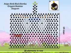 3D Origami Black Bomb Angry Birds Diagram