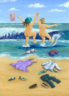 Skinny Dippers Photograph - Skinny Dippers Fine Art Print by Peter Adderley Skinny Dippers, Plus Size Art, Naive Art, Illustrations, Beach Art, Canvas, Folk Art, Fine Art Prints, Artsy