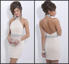 White Beaded Homecoming 2016 Halter Neck Open Back Sexy Style Short Mini Prom Backless Custom Made Major Beadings Elegant Design Slim 50s Prom Dress After Prom Dresses From Lovemydress, $92.06| Dhgate.Com