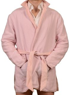 LUIGI BORRELLI NAPOLI Pink Terry Cloth Robe EU 50 NEW US M in Box