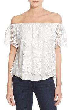 cupcakes and cashmere 'Sunset Lace' Off the Shoulder Top