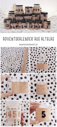 DIY Adventskalender aus Glas mit Friends of Glass. DI… DIY glass advent calendar with Friends of Glass. Simple craft idea for Christmas. Upcycling idea to imitate. Cute Diy Crafts, Upcycled Crafts, Crafts To Sell, Easy Crafts, Sell Diy, Decor Crafts, Home Decor, Noel Christmas, Christmas Crafts