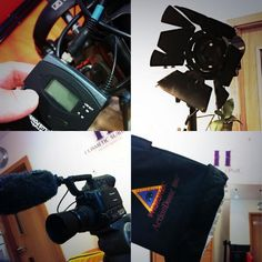 Preparing the equipment for some stylised interviews