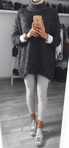#winter #outfits /  Dark Turtleneck Knit // White Leggings // Metallic Platform