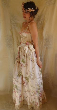 Bohemia Bustier Gown...wedding dress whimsical boho formal bridesmaid prom marie antoinette rococo fairy free people country chic