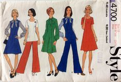1970s princess seam A-line dress and tunic & pants Style 4700 vintage sewing pattern Bust 34 Waist 26.5 Hip 36 Retro 70s preppy mostly uncut by 101VintagePatterns on Etsy