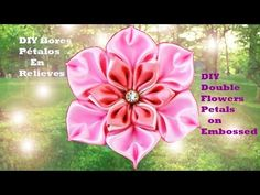 DIY flores en dos tonos en cintas-DIY Two hues flowers in ribbons - YouTube
