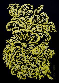 Papercut designs: five little birds on Behance Iryna Korchuk