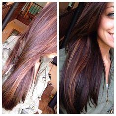 Carmel peek a boo highlights with dark brown hair by pandora's box