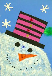 snowman close up. first grade winter artwork Christmas Art Projects, Winter Art Projects, Winter Crafts For Kids, School Art Projects, Winter Fun, Art For Kids, Kindergarten Art, Preschool Art, First Grade Art