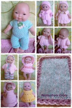 Ladyfingers elaine s doll patterns Bitty Baby Clothes, Boy Doll Clothes, Knitting Dolls Clothes, Crochet Doll Clothes, Knitted Dolls, Baby Girl Patterns, Baby Clothes Patterns, Doll Patterns, Sewing Patterns