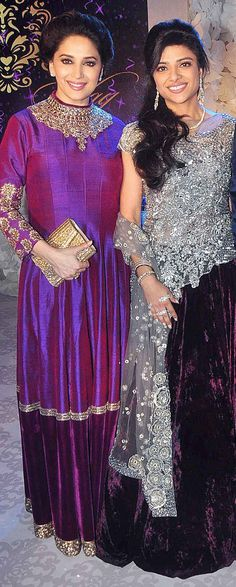 Madhuri Dixit with bride Shirin at the latter's sangeet ceremony. #Bollywood #Fashion #Style #Beauty