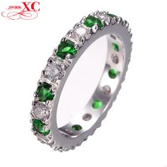 Fashion Green Zircon Stone Finger Ring White Gold Filled Love Jewelry Wedding Party Gift Rings For Women Ladies RW0109  Price: US $11.92  Sale Price: US $7.75  #dressional