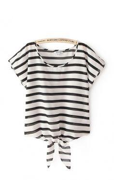 Black and White Stripe Chiffon Shirt