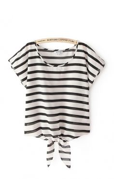 Stripes Printing Short Batwing Sleeves Chiffon Casual T-shirt