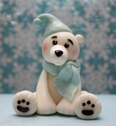 Polar Bear Topper - cake by Centerpiece Cakes By Steph Fondant Cake Toppers, Fondant Figures, Clay Figures, Fondant Cupcakes, Cupcake Toppers, Christmas Cake Topper, Christmas Cake Decorations, Penguin Cakes, Bear Cakes