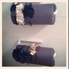 Headband storage using paper towel racks