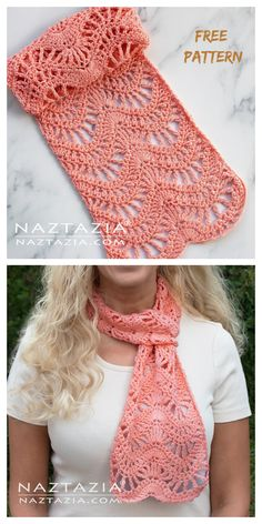 diy and craftss Crochet Lace Scarf, Crochet Flower Patterns, Crochet Stitches Patterns, Crochet Scarves, Crochet Clothes, Free Crochet, Knit Crochet, Chevron Crochet, Lace Patterns