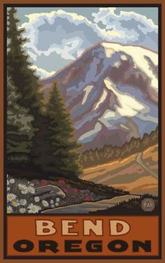 bend oregon WPA style poster