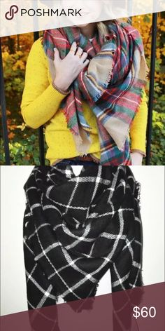 • one blanket scarf • Super soft and comfortable blanket scarf. Perfect for fall days. Available in black & white and beige with red, green etc. Other Accessories Scarves & Wraps