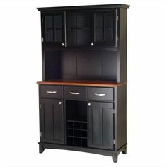Home Styles 3 Drawer Black Buffet and 2-Door Hutch with Cottage Oak... ($531) ❤ liked on Polyvore featuring home, furniture, storage & shelves, sideboards, black, tabletop shelf, black shelves, table top shelves, black hutch and black shelf