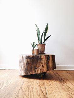 Hackberry Stump Side Table, Reclaimed Wood Live Edge, Levitating End Table