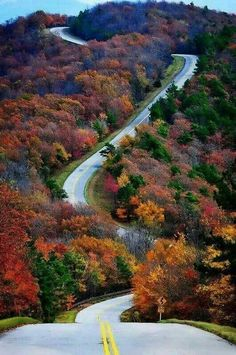 Autumn along Talimena Scenic Drive. The road runs between Talihina in southeastern Oklahoma and Mena in far western Arkansas. Beautiful Roads, Beautiful Places, Asphalt Road, Winding Road, All Nature, Fall Pictures, Wanderlust Travel, Solo Travel, Paths