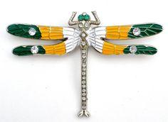 Vintage Dragonfly Rhinestone Enamel Brooch by TheJewelryLadysStore, $24.00