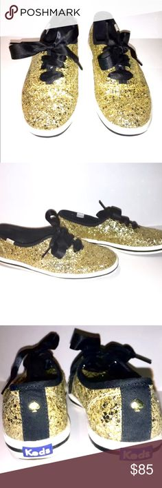 Keds for Kate Spade Glitter Sneakers Keds for Kate Spade New York Glitter Sneaker Tennis Shoe 5 SIZE: US SIZE: 5M  Color: Gold Glitter with Black Ribbon Laces  Pre-owned with Box kate spade Shoes Sneakers