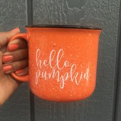 Hello Pumpkin Campfire Mug Pumpkin Lover Fall by PrettyCollected