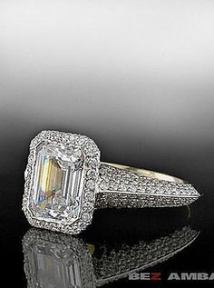 Emerald cut diamond in knife edge pave mounting.  By Bez Ambar.  Available at Alson Jewelers.