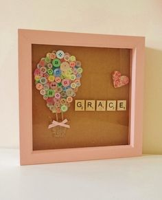 Items similar to Hot Air Balloon Button Art, Nursery Decor, Personalised Gift, hot air balloon decor on Etsy : Scrabble Crafts, Wooden Scrabble Tiles, Scrabble Art, Box Frame Art, Deep Box Frames, Deep Frame Ideas, Button Frames, Button Art, Homemade Gifts