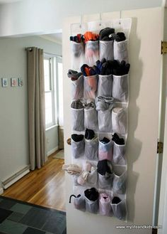 Keep hats, mittens, gloves and scarves stored in a shoe organizer. Perfect for people of all ages (and heights)